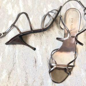 PRADA | Gunmetal Silver Strappy Heels